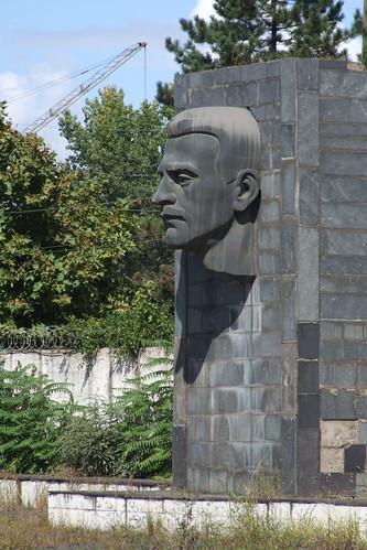 Monument at the abandoned square near Zestafoni Ferroalloy Plant, 10.09.2013.