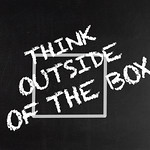 Think outside of the box text on blackboard thumbnail