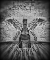 Angel Depressed (rockindave1) Tags: wings blackwhite floor wall adobephotoshopcs5 opticspro11 myself arty canoneos1dsmk3