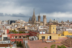 Blick von der Dachterrasse des Hotel 1898 über Barcelona, Spanien, auf die Metropolitankirche La Catedral de la Santa Creu i Santa Eulàlia (verchmarco) Tags: barcelona provinzbarcelona spanien es architecture diearchitektur travel reise noperson keineperson city stadt cityscape stadtbild town dorf outdoors drausen house haus building gebäude church kirche sky himmel skyline horizont roof dach water wasser urban städtisch old alt daylight tageslicht gothic gotisch sight sicht traditional traditionell fun christmastree españa bar owl design day decoration camera kodak