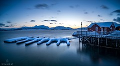 Finally: Colors (Wim Air) Tags: lofoten wimairat winter snow pier red house water sea cold blue