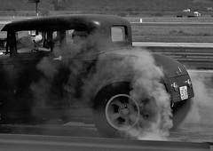 Burn Baby Burn (Tim @ Photovisions) Tags: xt1 drag fuji race coupe fujifilm monochrome blackandwhite car vintage ratrod dragrace strip smoke