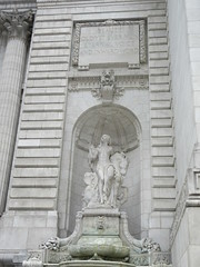 Beauty Lady Statue the New York Public Library 3602 (Brechtbug) Tags: 2019 library lady profile beauty statue outside new york public young woman fountain seated sphinx 42nd street 5th avenue nyc 03032019 statues sculpture animal women winter weather water basin stone wisdom