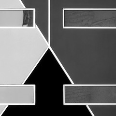 Abstract Facade (2n2907) Tags: abstract architecture photo glass minimal minimalist windows window building urban geometry geometric design graphic shapes simple rectangle blackwhite triangular triangle olympus omd mirrorless