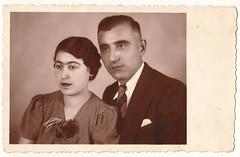 Vintage Photo 1939 Photo Postcard:  Armenian Couple (CHAIN12) Tags: vintage scan scanned photo bulgaria bulgarian armenian postcard rppc unibrow eyebrows ssllrca1939rppcarmeniancoupleportrait