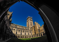 Durham Cathedral. (CWhatPhotos) Tags: cwhatphotos camera photographs photograph pics pictures pic picture image images foto fotos photography artistic that have which contain flickr olympus omd em1 mk l mzuiko 8mm prime fisheye fish eye lens durham north east england uk city centre concrete structure cathedral foot path footpath walk iconic building architecture arches