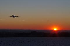 747 LX-VCV in front of the sunset (Schremserfrank) Tags: verkehr flugzeug flughafen luxluxembourgfindel jet boeing 747 lu findel himmel abenddämmerung airport sunset sonnenuntergang anflug lxvcv