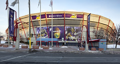 2010 panorama of the Hubert H. Humphrey Metrodome in Minneapolis, Minnesota with photos of NFL Vikings quarterback Brett Favre and running back Adrian Peterson on the outside of the stadium (thstrand) Tags: adrianpeteson advert advertise advertisement advertising airsupportedroof america american architecture arena brettfavre building buildings builtstructure business celebrities celebrity communications dome domed downtown exterior famouspeople famousperson footballfield historicsite history huberthhumphreymetrodome huberthumphrey industry landmark landmarks mn metrodome minneapolis minnesota minnesotavikings nfl nationalfootballleague nobody outside panorama panoramicview photos player players prosports professionalsports sign signs sport sports stadium stadiums structure structures team teams us usa unitedstatesofamerica