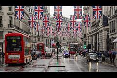Hope it rains (London Lights) Tags: londonlights hopeitrains london lights londres londra unionflag union flag rain urban city street bus red white blue redbus