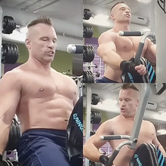 back row machine (ddman_70) Tags: shirtless pecs abs muscle chest gym workout backrows