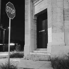 Stop (ADMurr) Tags: la eastside mission road stop doorway night hasselblad 500cm dad1242 50mm distagon