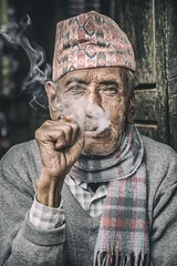 My Morning Cigarette (Roberto Pazzi Photography) Tags: asia smoking elderly nepal bhaktapur smoke people photography portrait ring street travel glasses man funny hand one person outdoors nikon culture place glance hands scarf cup