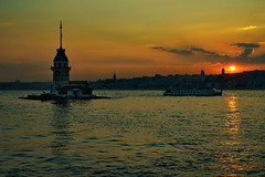 sunset in bosphorus (meren34) Tags: sunset bosphorus istanbul maiden tower sky cloud sea red reflection city siluettes