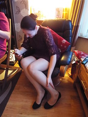 Nina Little Red Dress... Christmas 2017 (sean and nina) Tags: nina christmas belfast december 2017 little red dress indoors inside seated sitting shoes legs tights nylons hair tied back brunette phone mobile wooden floor home brown eyes face pink lips knees skin arms hands smile smiling happy beauty beautiful gorgeous stunning charm cute woman female girl lady wife married serb fiancee girlfriend lace expression warm