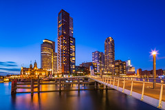 Rotterdam! (karindebruin) Tags: nederland rotterdam theneetherlands zonsondergang zuidholland bluehour city stad sunset