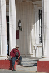 The Cowboy Of Pinar Del Rio (peterkelly) Tags: digital canon 6d northamerica cuba cubalibre gadventures pinardelrio column pillar white cowboy steps step hat lamp light