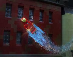 Iron Man Takes Flight (Ben Cossy) Tags: iron man tony stark flying flight zoom marvel comicbook comic book mcu lego moc afol tfol