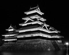 Matsumoto castle (FlickrDelusions) Tags: night crowcastle nightphotography matsumoto blackcastle bw blackandwhite japan matsumotocastle matsumotoshi naganoprefecture jp