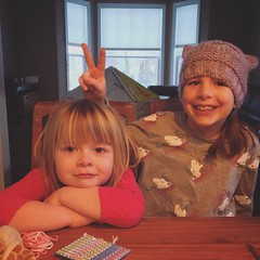 Mornings With The Munchkins (matthewkaz) Tags: madeleine norah daughter daughters child children sisters peace bunnyears vsign home house burcham eastlansing michigan 2019