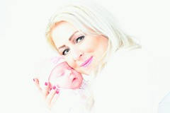 Mother and child (Ginzal) Tags: pink motheranddaughter family portrait overexposed uk beautiful motherandchild baby child mother