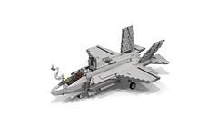 Lego F-35B Lightning II | Joint Strike Fighter (VTOL) (DarthDesigner) Tags: ldd moc builds instructions bricks brick mocs legodigitaldesigner starwars oninemesis thedarthdesigner tdd military lego digitaldesigner darth f35 f35b fighter strikefighter lightningii carrier