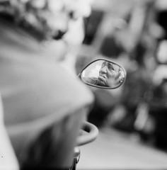 A slice of emotion (jaxting) Tags: 6x6 120 jaxting reflection candid street people la california venicebeach aristaedu filmisnotdead istillshootfilm bw sonnar p6 pentaconsix