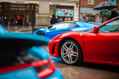 The hot three. (e.east0804@hotmail.co.uk) Tags: canon sportscar canon5d canon5dclassic 5dclassic 50mm 50mm12 car sport red blue cardiff street