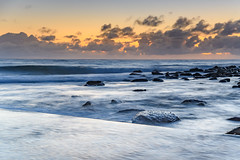 Dawn Seascape by the Seapool (Merrillie) Tags: daybreak sunrise cloudy nature water oceanpool seapool macmasters centralcoast morning newsouthwales rocks earlymorning nsw sea dawn ocean clouds landscape waterscape coastal macmastersbeach outdoors seascape australia coast sky waves