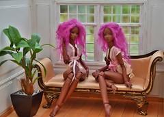 Those fabulous PLUM TWINS again !! (stashraider) Tags: randichannel tinyshirt chocoalte procelain doll plum twins