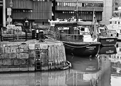 Havengore (alicejack2002) Tags: london boats dock thames ladder water reflection bw monochrome leica
