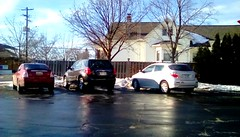 Bank parking lot - HFF (Maenette1) Tags: bank parkinglot cars fence house menominee uppermichigan happyfencefriday flicker365 allthingsmichigan absolutemichigan projectmichigan