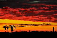 Wild Sunset in Rome (Claudio_R_1973) Tags: sunset rome vivid cloud roma italy italia landscape cityscape building crane industrial contrast