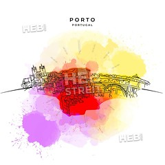 On the roofs of Porto (Hebstreits) Tags: abstract architecture art background beautiful black building city cityscape color design drawing drawn europe european exterior graphic hand historic historical home house houses illustration isolated landscape line lisbon old outline pencil porto portugal road roof roofs sketch splash street style tile tourism town travel urban vector view vintage watercolor white