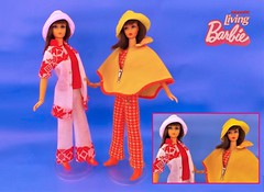 TWO BRUNETTES (ModBarbieLover) Tags: brunette living barbie doll mattel fashion mod 1971 1970 yellow orange white hat dramatic