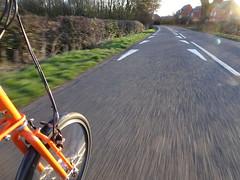 Beware of the teeth (stevenbrandist) Tags: orange road mountsorrel moulton tsr spaceframe cycling motion blur whitelining paint westcrosslane 30 speed commute commuting morning sun