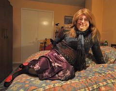 Hi there - 24/1/19 (petrafluffy) Tags: mohair satin skirt sweater pantyhose heels bed petra fluffy
