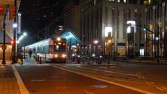 The Jersey City Commute (Lojones13) Tags: train trolley lightrail jerseycitynewjersey commuters streetlights streetscene nightscape nightshot transportationhub trainstation