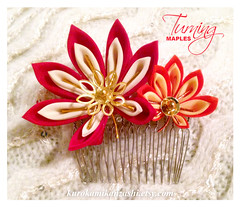 Turning Maples (Kurokami) Tags: lindsay ontario canada kimono japan japanese asia asian woman women girl girls lady ladies traditional kitsuke tsumami kanzashi fold folded flower flowers floral bloom blossom blossoms hair ornament ornaments comb turning maple maples momiji red vermilion yellow bead cap sequin gold autumn fall polyester ebay etsy