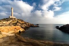 ...el vigía tras la bruma... (puesyomismo) Tags: faro playa costa mar murcia nubes cielo agua azul vigia mañana amanecer invierno paisaje cartagena