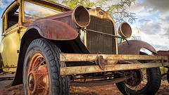 Out Of Gas (emiliopasqualephotography) Tags: car auto vehicle tire wheel rust abandoned