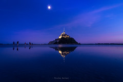 To the wonder... (ForgottenMelodies) Tags: hike sand magic long saint montsaintmichel sea baie pentax k3 sky mud mont france normandy people mood moon brittany evening clouds longexposure building water mer night dusk bay history movement ocean light reflection michel walk
