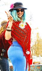 Flowers  and Peace (wyojones) Tags: montana whitefish feburary wintercarnival woodstockwhitefish 60s 1969 vintage glasses peacesymbol woman girl hair bluehair flowershawl peacesign hat wyojones