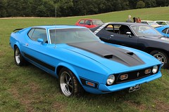 Ford Mustang Mach 1 (R.K.C. Photography) Tags: 1971 fordmustang mach1 classic american musclecar car blue knebworthclassicmotorshow 2018 hertfordshire england uk unitedkingdom stevenage mcy488j canoneos100d