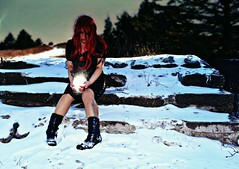 she stole the moon (Gothic Swan Images & Photography) Tags: moon woman red hair emotion nikon snow art canada nature