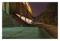 Sentimental axis (Markus Lehr) Tags: industrial architecture shadows factory forest longexposure availablelight night nightshot space atmosphere mood cinematic contemporaryphotography mokrá czechrepublic markuslehr