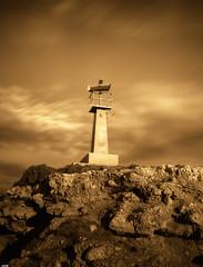 Faro (candi...) Tags: faro lametllademar cielo rocas acantilado sonya77 airelibre nubes sepia