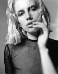Maja (Braca Nadezdic) Tags: analog blackandwhite bw studio model girl lingerie graflex speedgraphic kodaktrix320 4x5 negative largeformat film