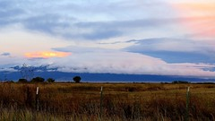 A Shroud of Clouds (Patricia Henschen) Tags: alamosa colorado sanluisvalley goldenhour mountains clouds rural southriverroad backroad autumn snow ranch countryside valley sangredecristo