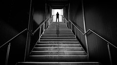 Foreboding (Chas56) Tags: selfportrait composite monochrome blackandwhite silhouette stairs steps passage foreboding