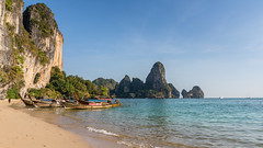 Ton Sai Beach (hjuengst) Tags: thailand tonsaibeach tonsai krabi aonang railey cliffs rocks andamansea longtailboat